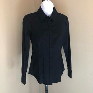 WHBM Fitted Career Black Blouse